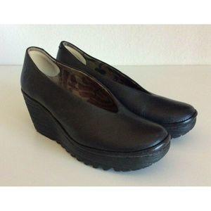 Fly London Yaz Black Wedge Heels Size 36